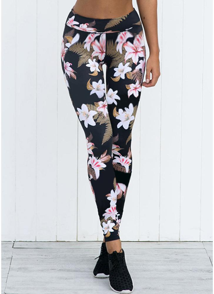 Women Floral Print Leggings Mid Waist Skinny Running Yoga Tights Pants