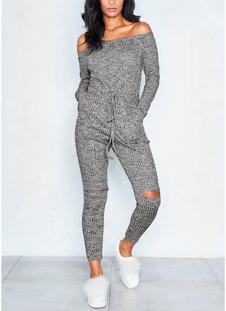 Women Off the Shoulder Jumpsuit Ribbed Knit Drawstring Cutout Long Sleeve Pockets Jumpsuit
