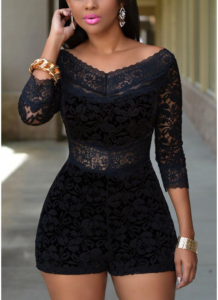 Women Lace Jumpsuit V Neck 3/4 Sleeve Romper Shorts