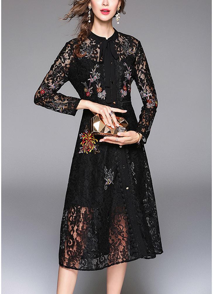 schwarz 2xl Frauen-elegantes Spitzenkleid-Bindungs-Hals-langes ...