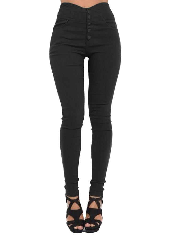 Calças magras com cintura alta tamanho grande Calças esticadas elásticas