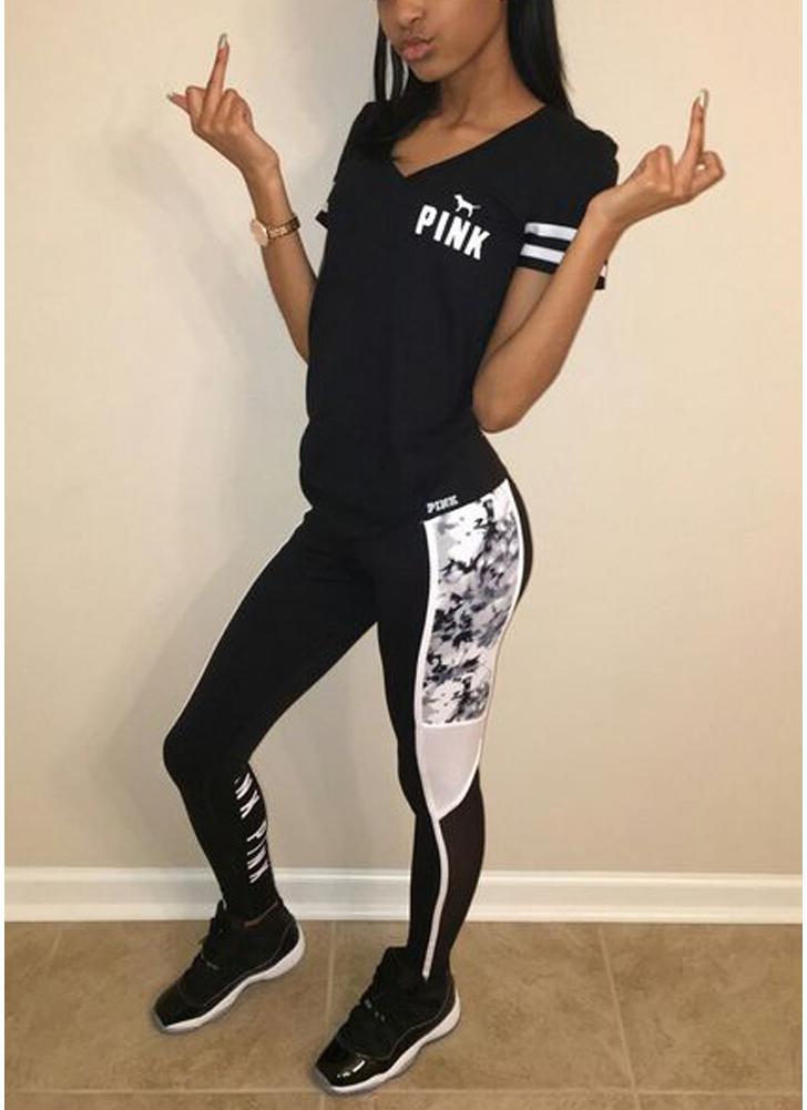 T-Shirt da donna Pantaloni a matita a righe Pantaloni con stampa a righe Set due pezzi casual