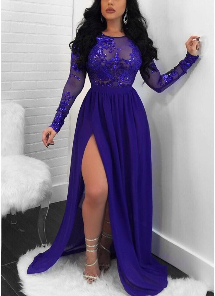 l azul Vestido maxi de manga larga sin espalda con abertura en malla ...