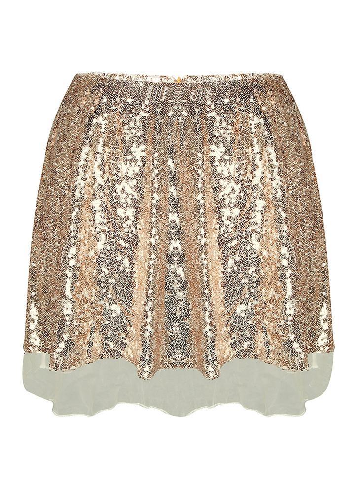Sequin High Waist Zip Glitter A-Line Short Skirt