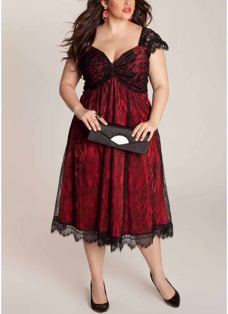 Women Plus Size Dress Floral Lace Sweetheart Midi Elegant Evening Party Wear