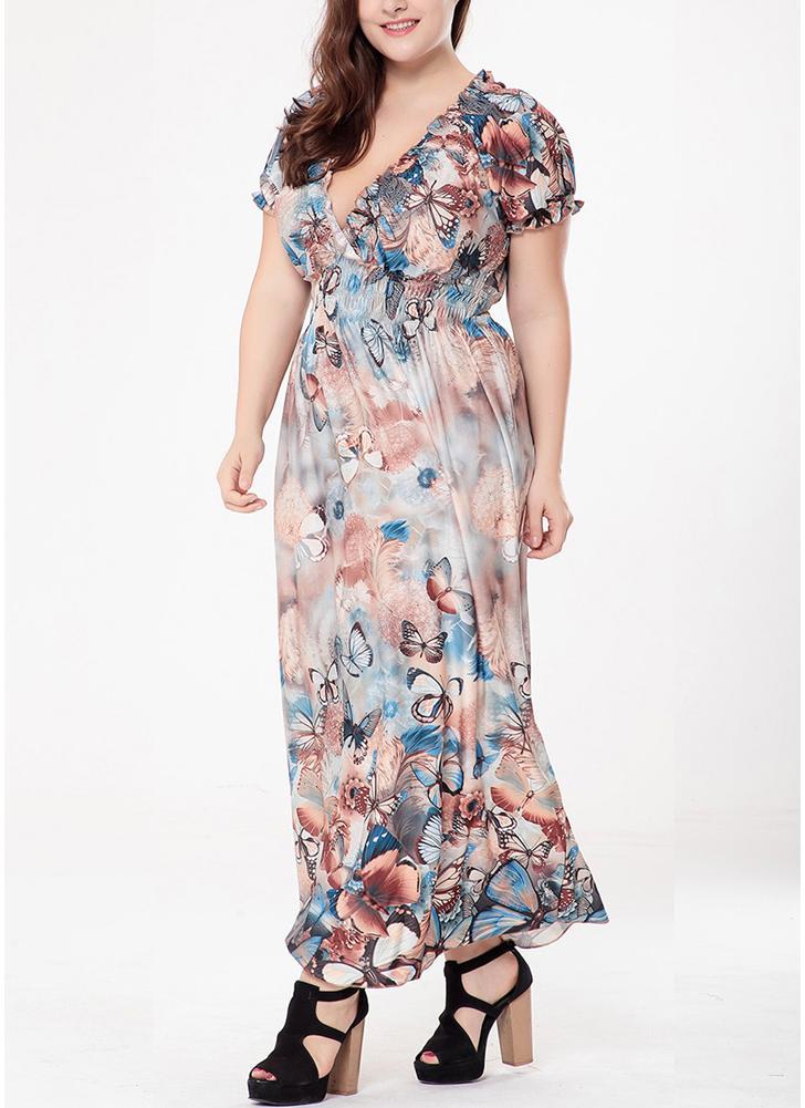 Blue Xxl Women Plus Size Bohemian Long Dress V Neck Short Sleeve