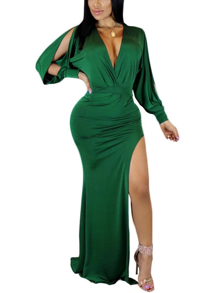 Vestido feminino alto e alto Vestido de festa sólido com pescoço profundo com pescoço