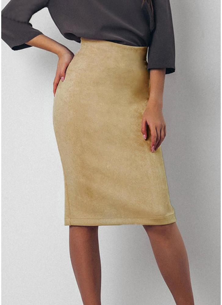 Sexy Women Suede Pencil Skirt Solid Color  Split Zip Bodycon Midi Skirt