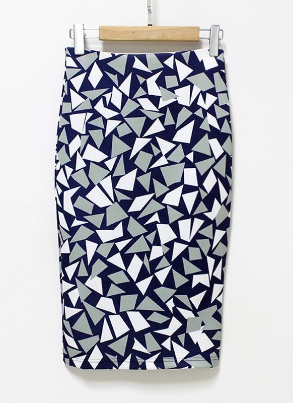 Eometrische Print High Waist Split schlanke elegante OL Bodycon Midi Rock