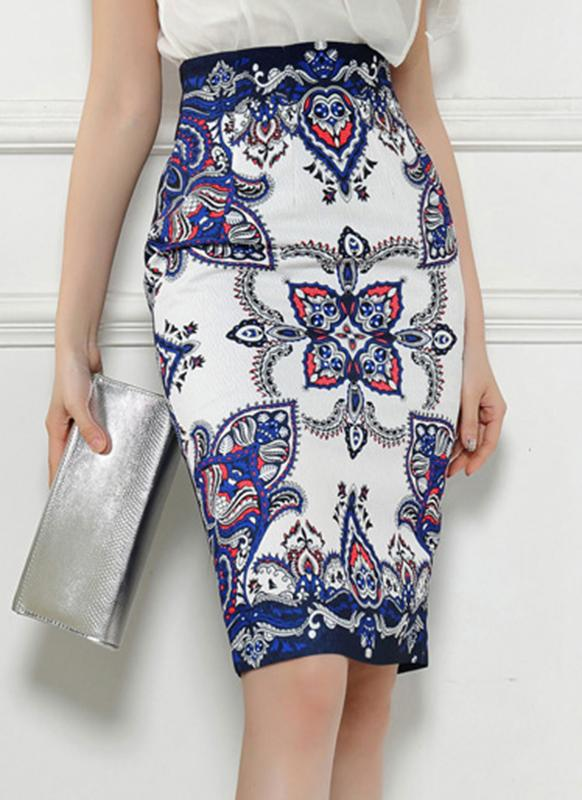 Vintage Print High Waist Split Slim Elegante Retro OL Bodycon Midi Skirt