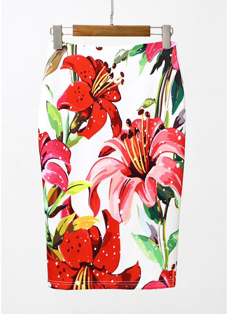 Floral Print High Waist Split Vintage Slim Elegante OL Bodycon Saia Midi