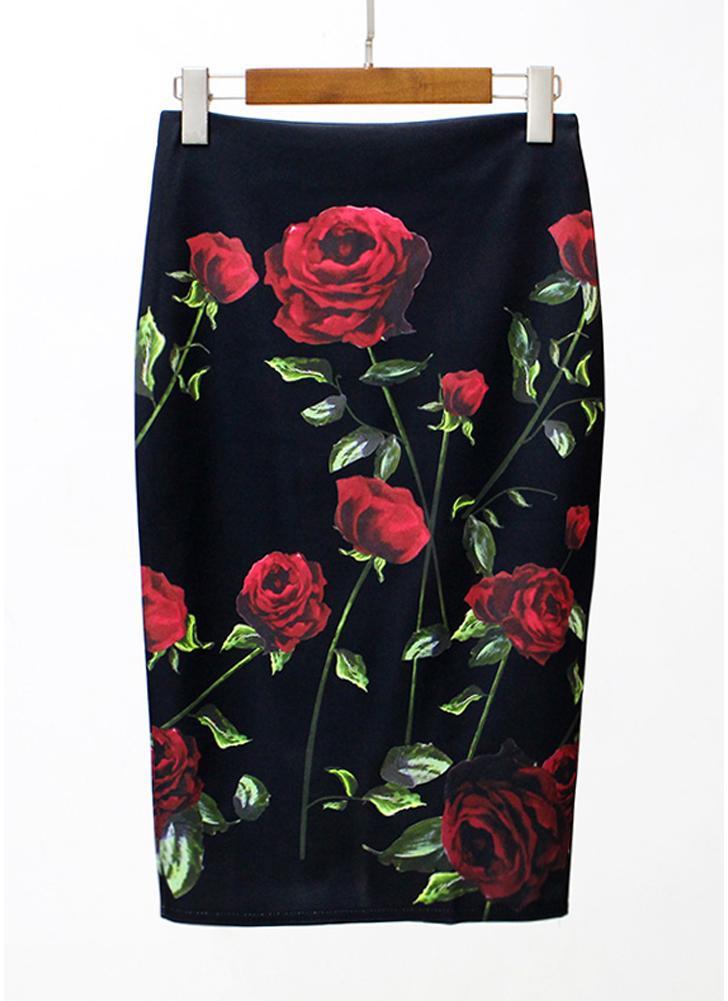 Vintage Floral Print High Waist Split Slim Элегантный OL Bodycon Midi Юбка