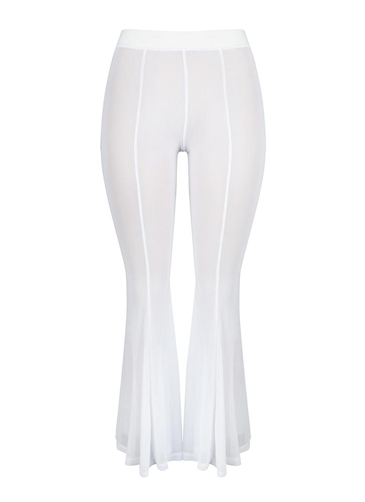 Women Sheer Mesh Wide Leg Pants Flare Pants  Palazzo Bell Bottom Pants
