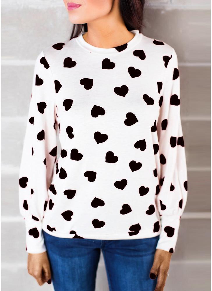Mulheres blusa coração impressão de manga comprida de manga comprida Casual T-Shirt Tee Tops