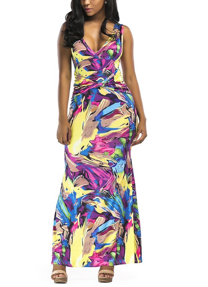 Women Maxi Dress Contrast Color Block  Slim Bodycon Elegant Long Dress