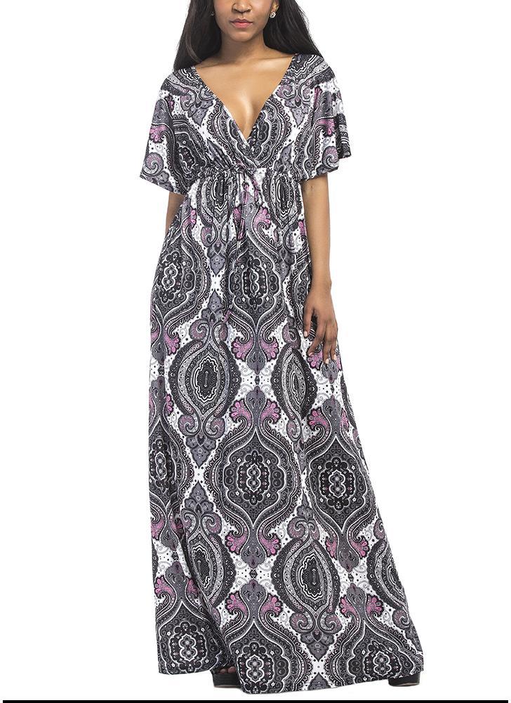 Плюс Размер Геометрическая печать Платье V-образным вырезом с короткими рукавами Богемианское платье Maxi