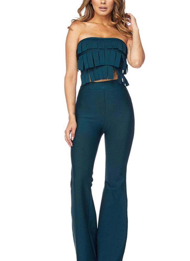 Tassel zweiteilige Set Wide Leg Pants Solid Anzüge