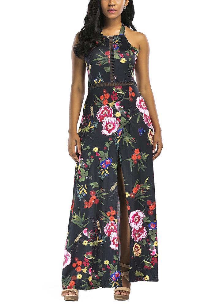 Robe longue fendue à manches longues à imprimé floral