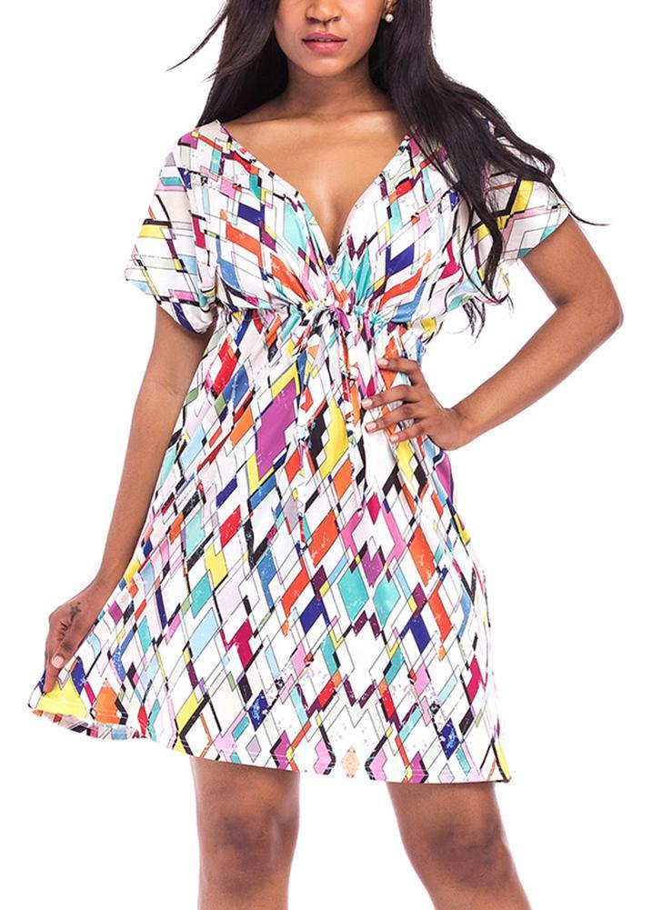 White Xl Women Plus Size Print Mini Dress Summer Beach Pleated Dress