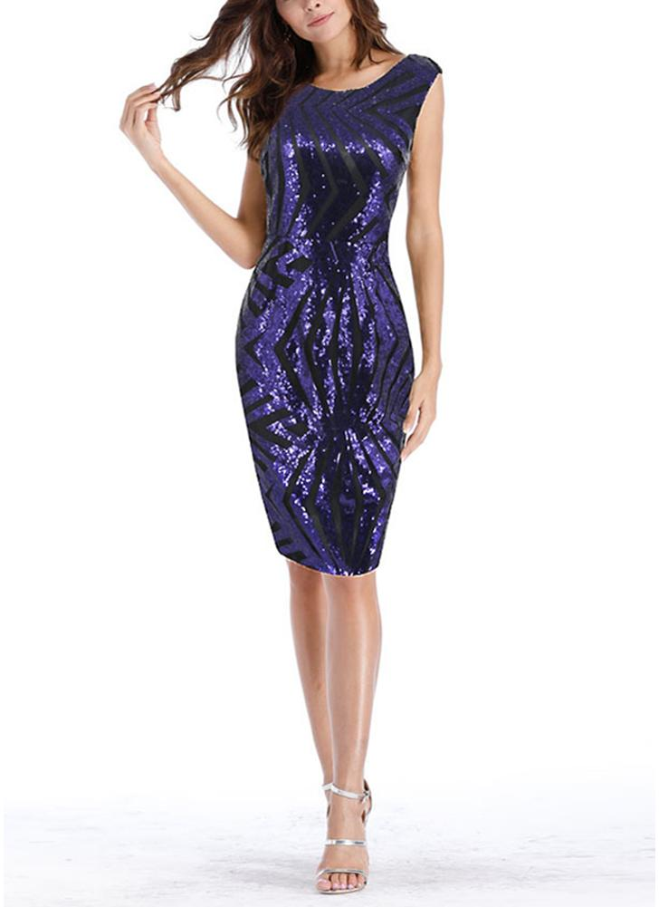 Women Sequins Dress Geometric Sleeveless Sparkling Split Slim Bodycon Club Party Dress