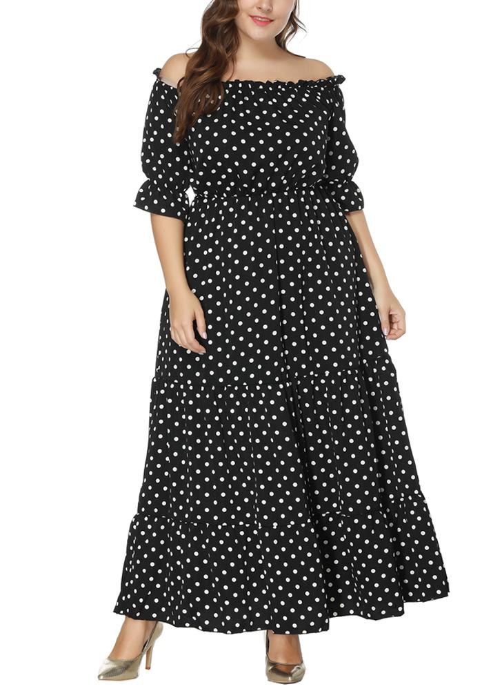 Black 2xl Women Plus Size Dress Polka Dot Print Half Sleeves Elastic
