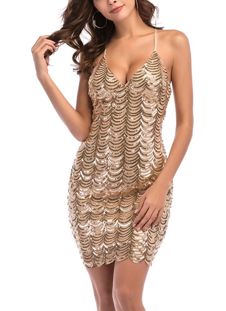 Femmes Sequin Dress Croix Dos Nu Party Club Moulante Strap Mini Robe Vestidos