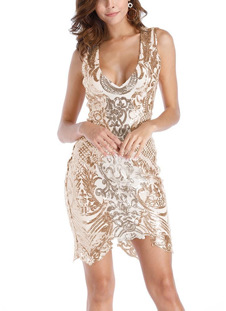 Women Sequins Dress Sleeveless Cut Out Back Asymmetrical Hem Party Dress 5846481f7ad5