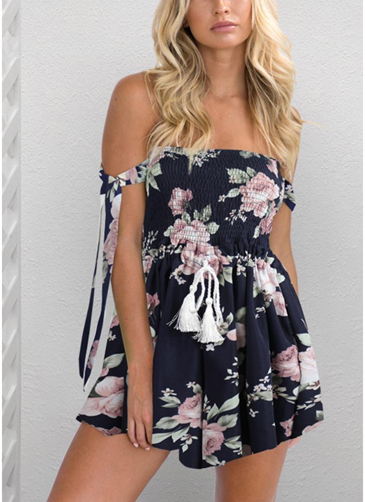 Femmes Backless Floral Imprimer Combinaison Cordon Romper Combishort Beach Party Short Survêtements