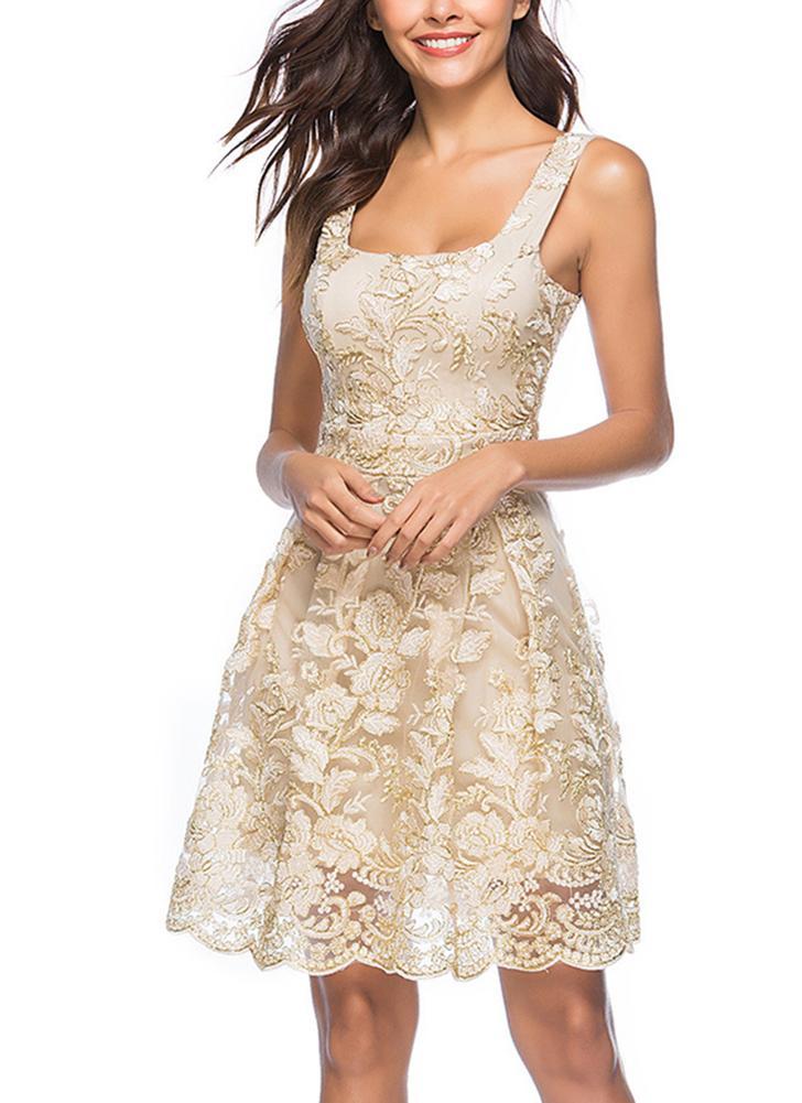 Le donne vestono il ricamo floreale la cinghia di spaghetti Summer Casual  Vintage Party Dress Clubwear 788f0b447a6