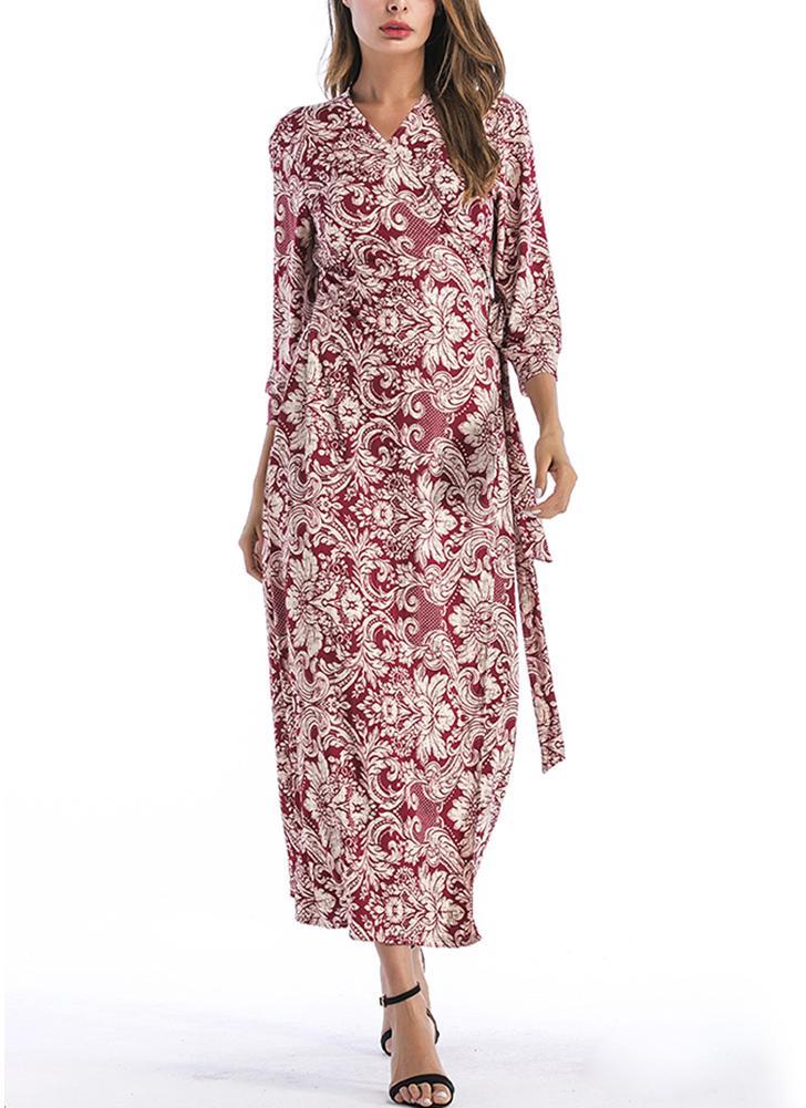 Bohemian Floral Print Cross frente cinto com decote em v 3/4 mangas Maxi Dress