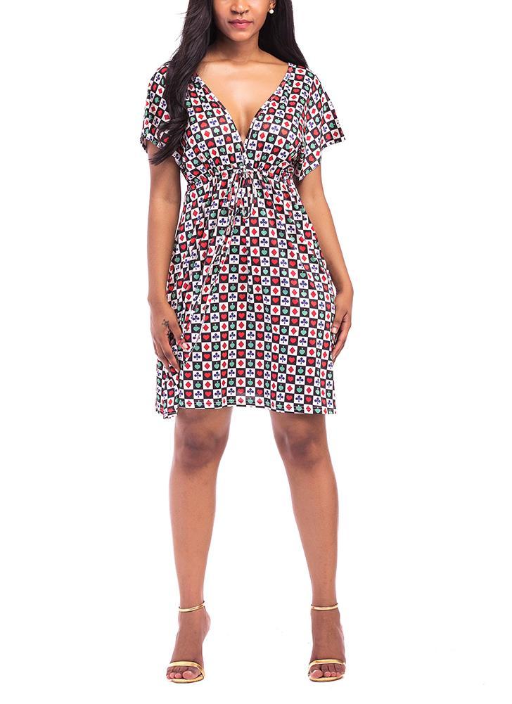 Plus Size Floral Plaids Dress Deep V Neck V Back Short Sleeves Elastic High Waist Dress