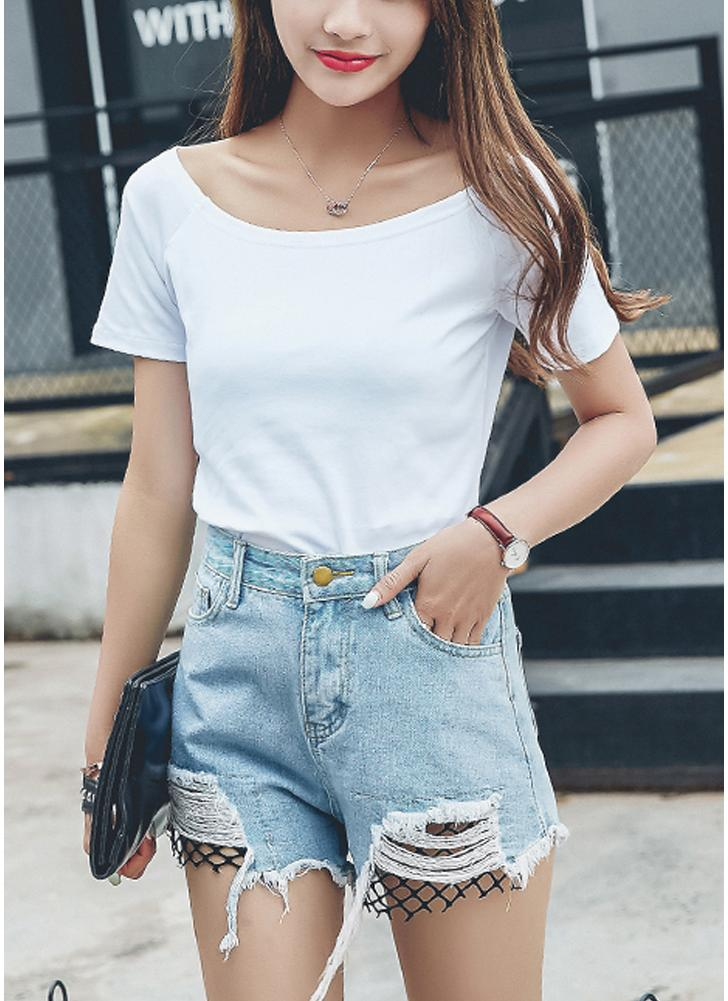 Off-The-Shoulder Short Sleeve Solid Slim Casual Tunic Top Tees