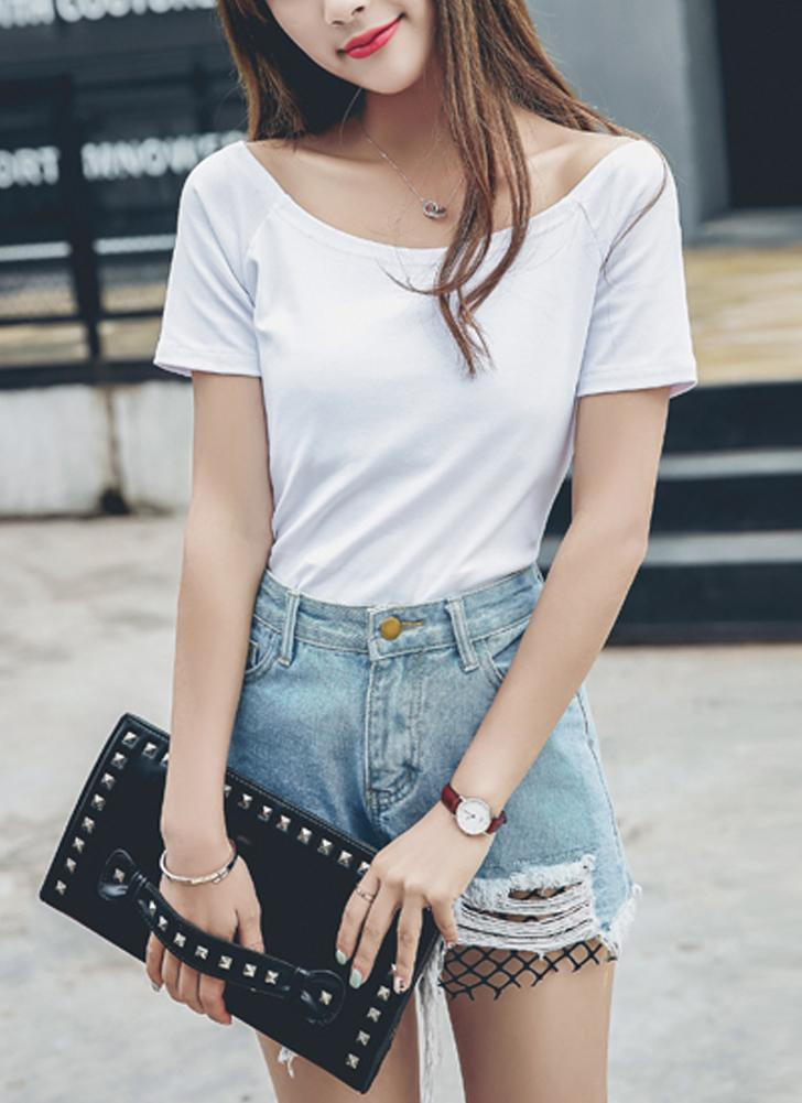 Off-The-Shoulder Kurzarm Solide Dünne Beiläufige Tunika Top Tees