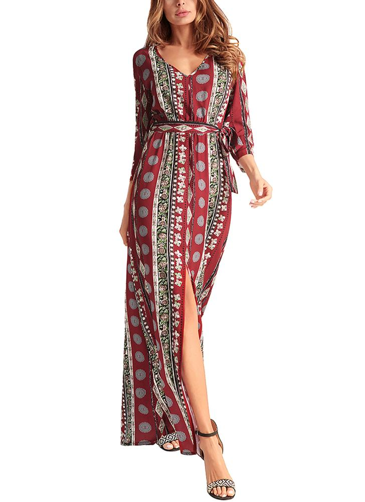 Chiffon Geometric Print V Neck 3/4 Sleeve Splits Maxi Gown Vintage Bohemian Dress