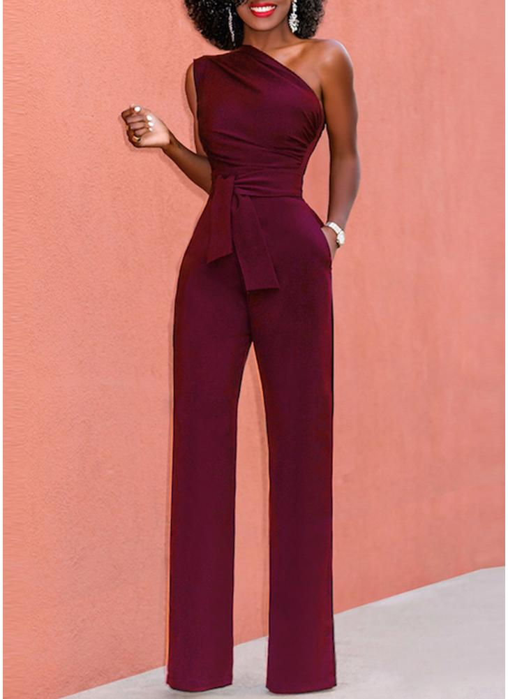 One Shoulder Casual Jumpsuit Sleeveless Wide Leg High Waist Solid Rompers