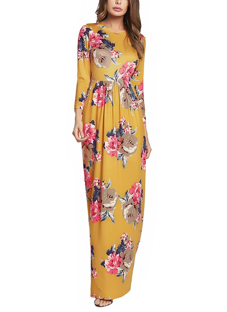 Богемский контраст Цветочная печать Круглый шею Высокие талии Карманы Maxi Gown Dress