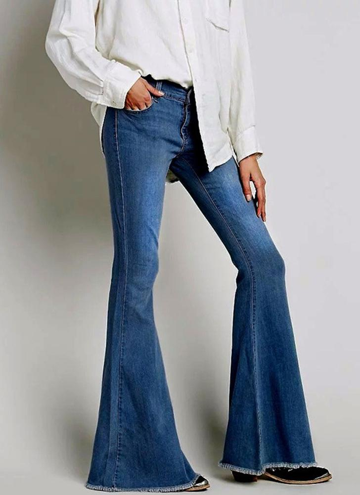 15ae0ce8a blue xl Skinny Denim Jeans Flare Pants Bell Bottom Pants Casual Long  Trousers - Chicuu