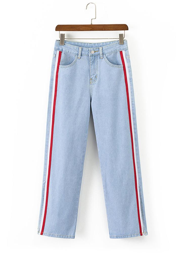 Pantaloni skinny jeans donna sexy pantaloni a righe laterali pantaloni  casual blu   azzurri 6579b464520