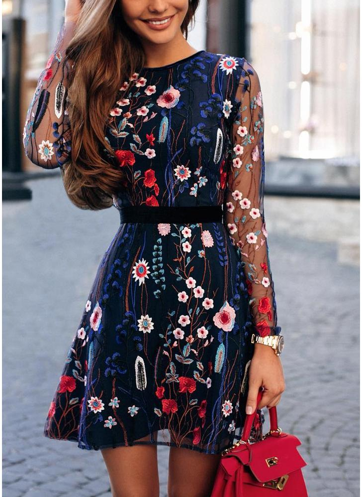 Floral Embroidery Sheer Mesh Summer Bohemian Mini Dress