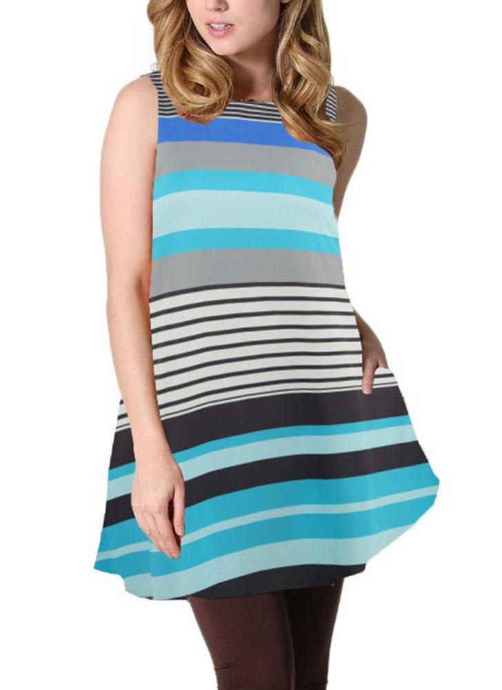 Без рукавов Свободные цветастые полоски O-образным вырезом Повседневные элегантные мини-платья