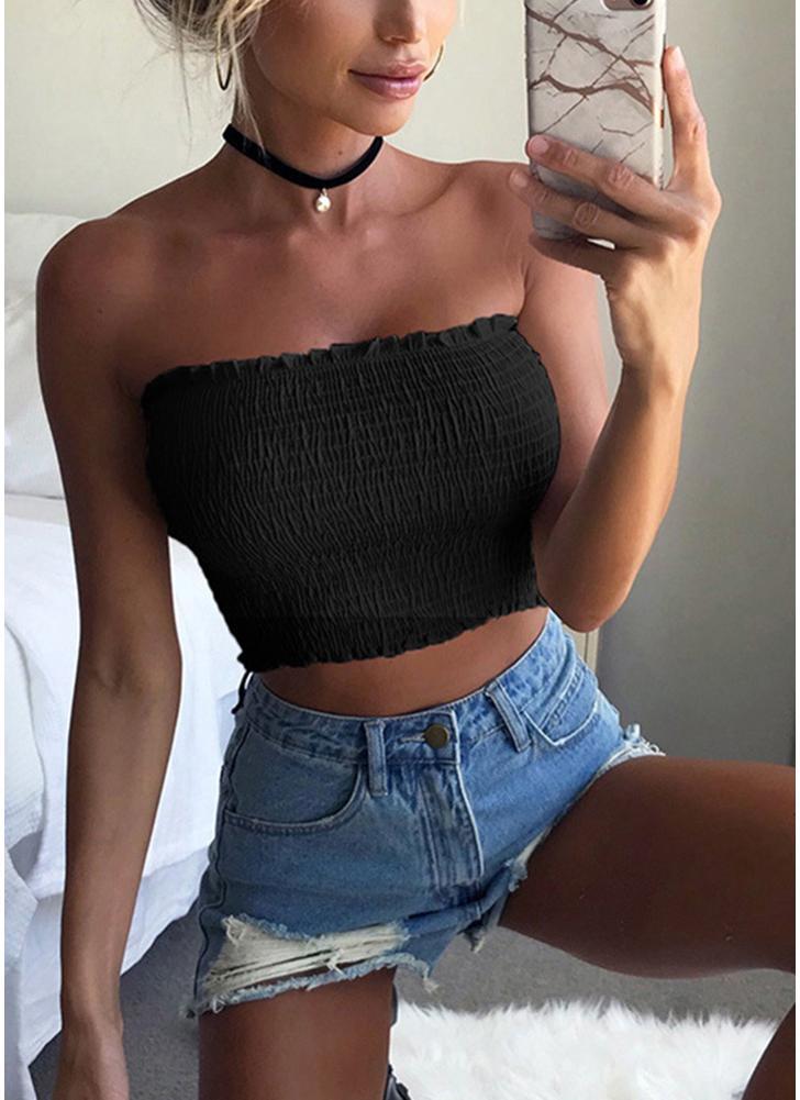 Top Colheita Sólida Strapless Bandeau Elastic Ruched Plissado Sem Mangas Backless Sexy Vest