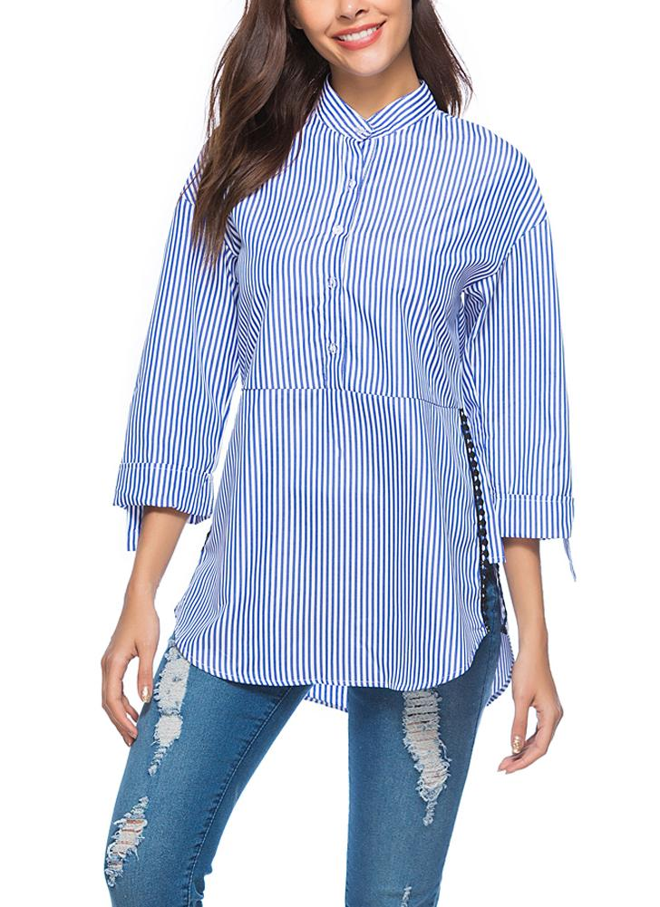 Striped Side Split Three Quarter Sleeves Long Top