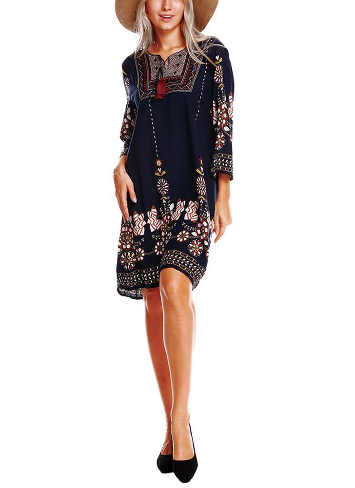 Étnico bordado frente vintage borlas de impresión floral 3/4 mangas bohemio vestido suelto
