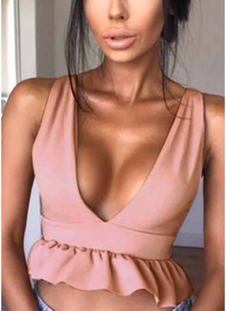 Deep V Neck Backless Ruffles Sleeveless Short Vest Top