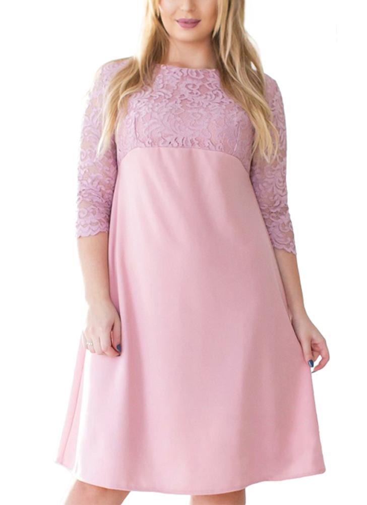 xl rosado Vestido midi de manga tres cuartos de encaje floral más el ...