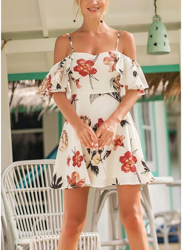 Бохо Vintage цветочные печати Ruffle платье спагетти ремень Backless Beach платье