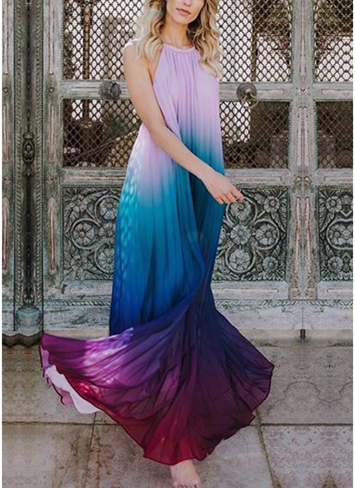 Boho Chiffon Backless Pleated Dress Sleeveless Halter Maxi Dress