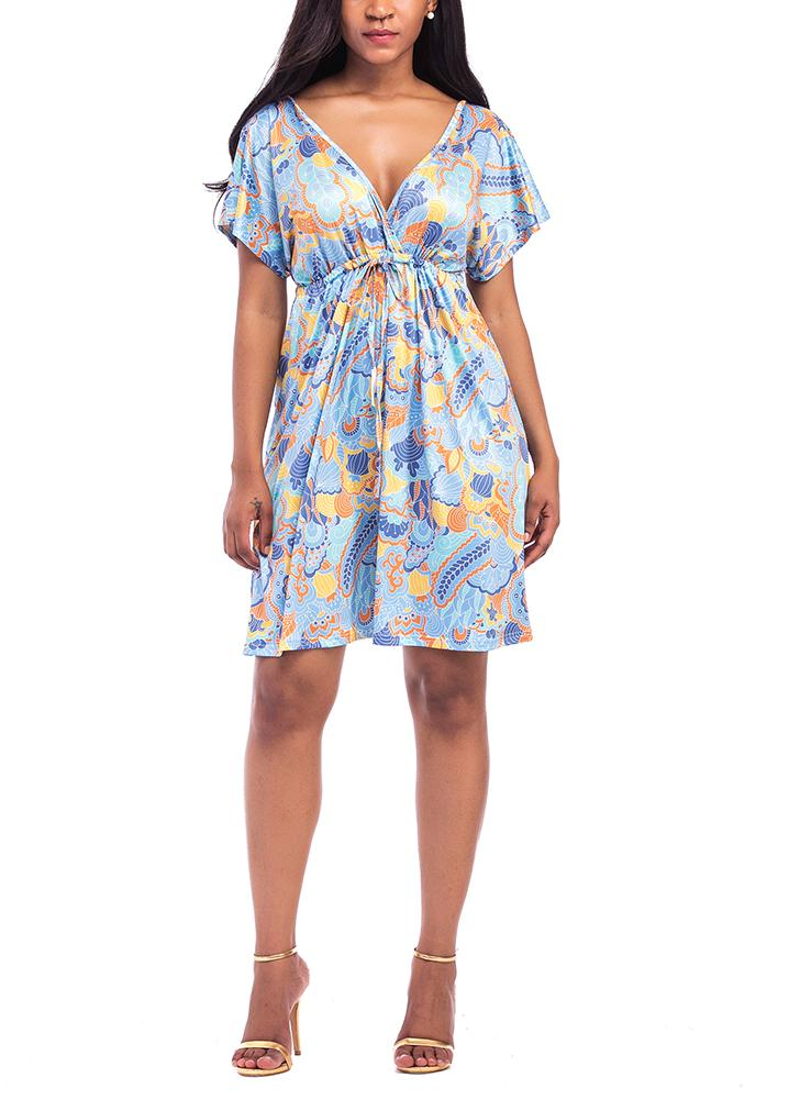 Plus Size Vintage Floral Print V Neck Short Sleeve Hippie Boho Smock Dress