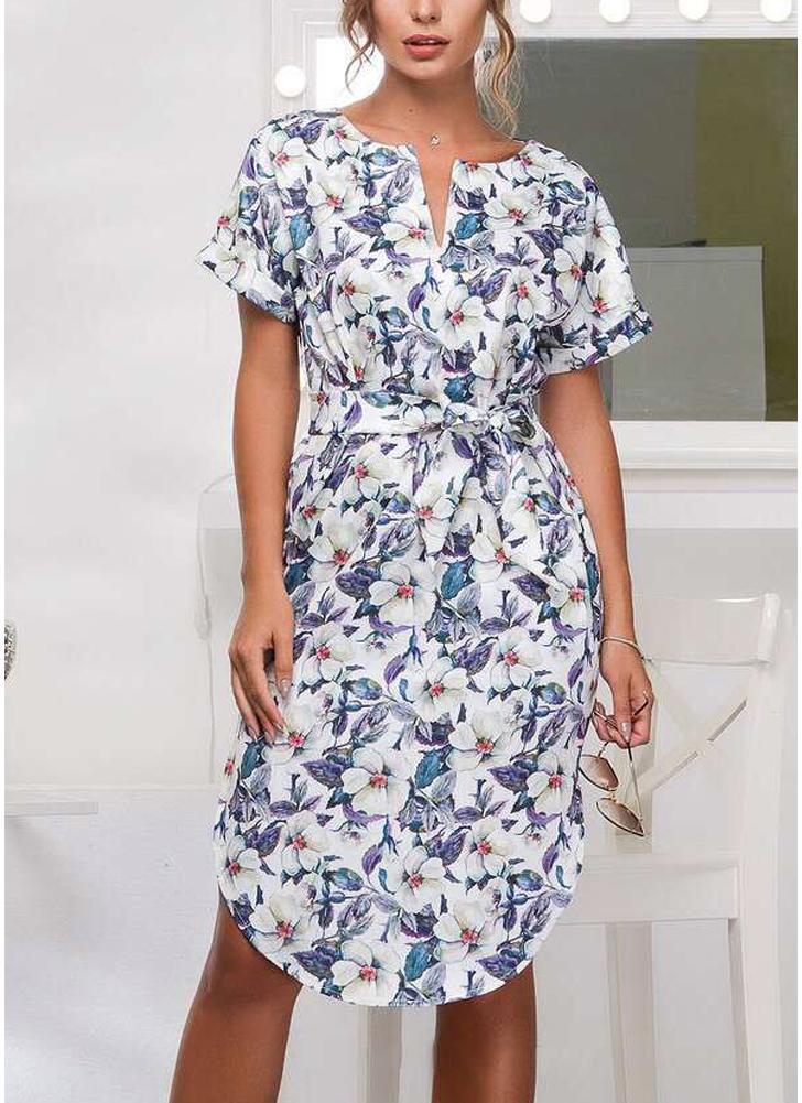Boho Floral Imprimir V Neck vestido de manga curta Irregular Hem Self-tie cintura Beach Dress