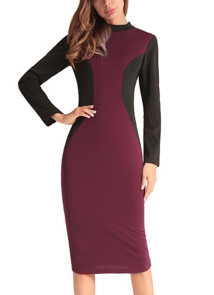 1ba558deabb1 burgund 2xl Farbe Block High Neck Langarm Slim Bodycon Damen Kleid ...